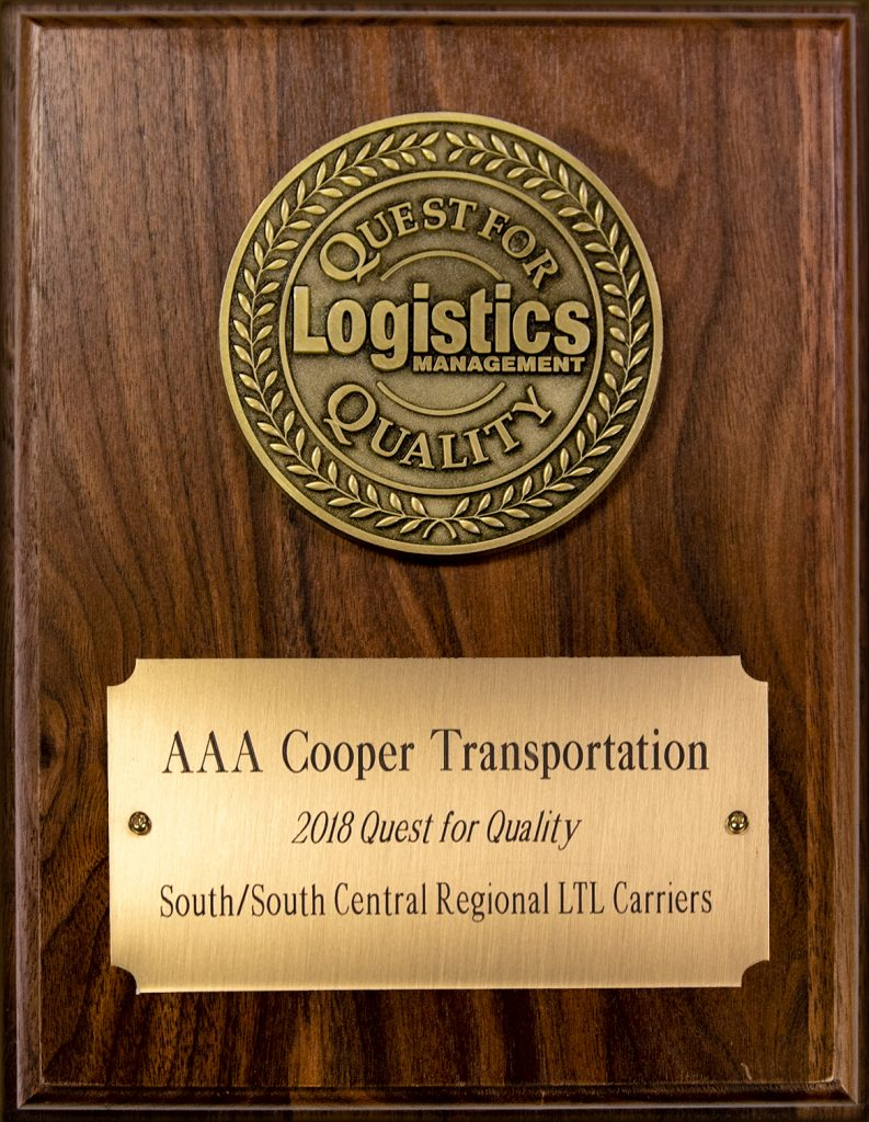 AAA Cooper Transportation wins the Quest For Quality Award